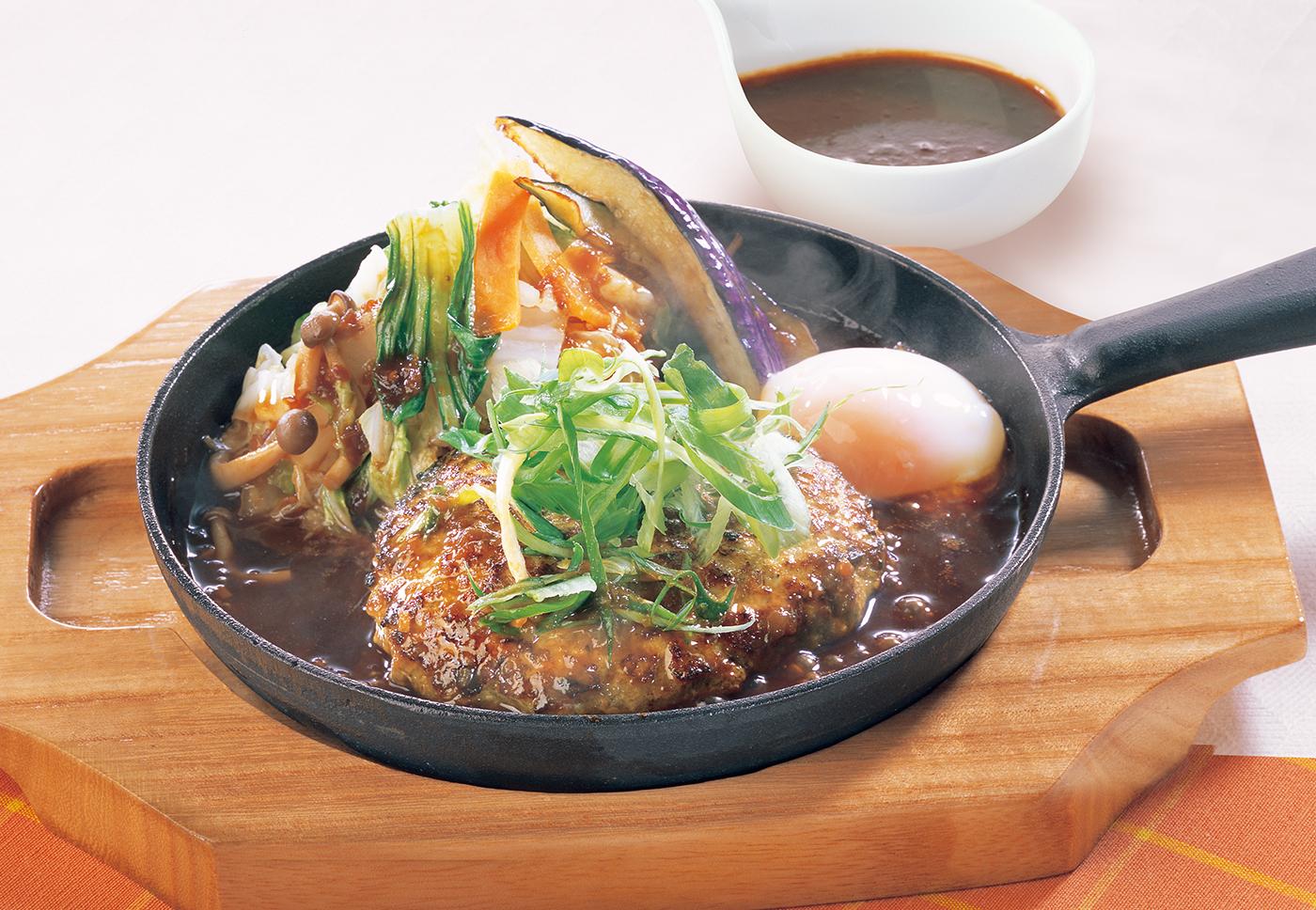 ココス プレミアムハンバーグ 鍋スタイル 八丁味噌ソースと温野菜