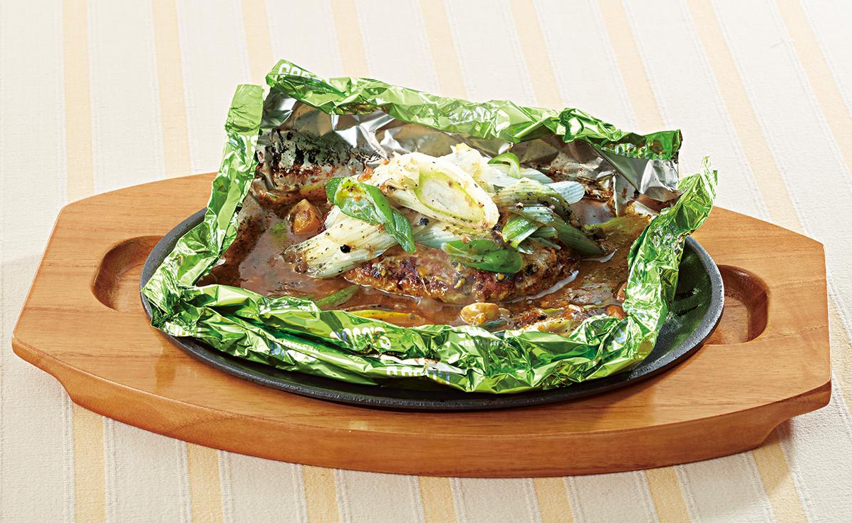 焦がしバター醤油ソース 葱の包み焼きハンバーグ