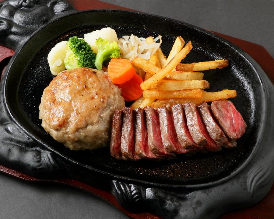 黒毛和牛100%飲めるハンバーグとA5ランクのモモステーキのコンボ
