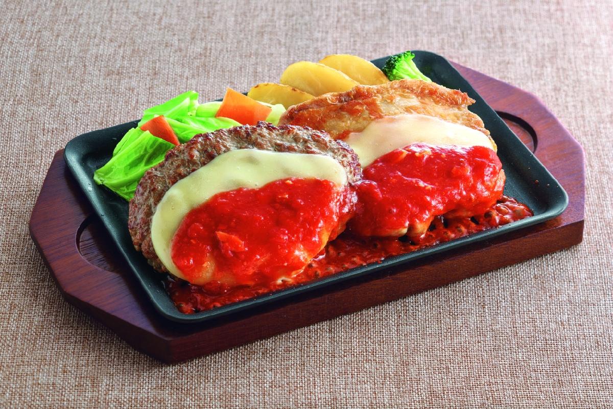 ジョイフル ハンバーグ&チキンコンボフェア チーズハンバーグ&チキンイタリアンステーキ