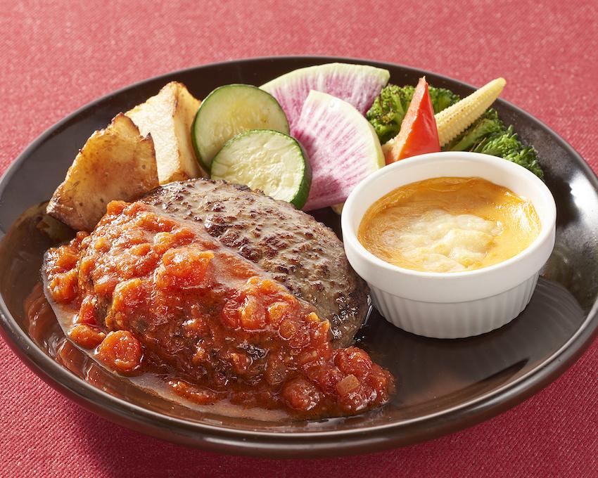 ジョナサン 彩り野菜のチーズフォンデュハンバーグ トマトソース