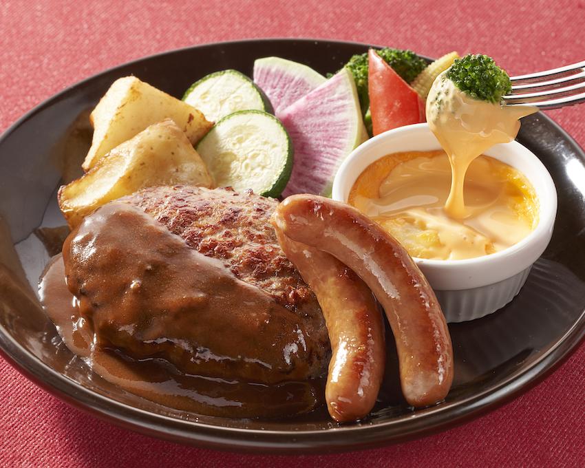 ジョナサン 彩り野菜のチーズフォンデュハンバーグ&ソーセージ デミグラスソース