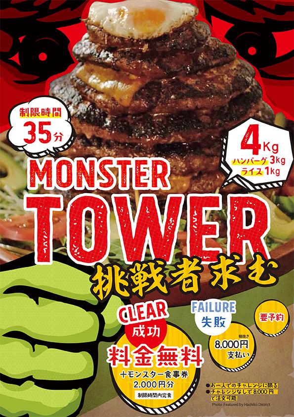 モンスターグリル 大食いチャレンジメニュー モンスタータワー 挑戦者求む
