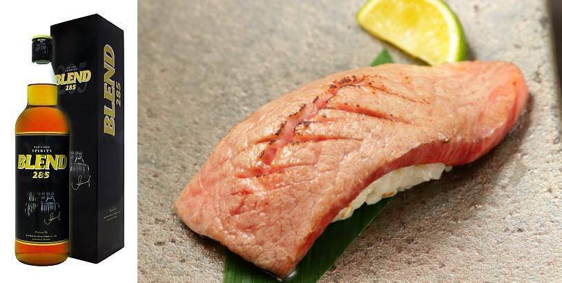 飲めるハンバーグ タイウィスキーBLEND285ハイボール 和牛の肉寿司 無料サービス