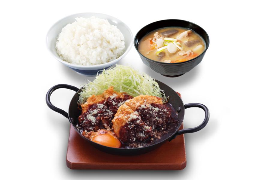 かつや デミたまメンチカツ鍋定食
