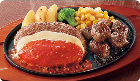 ジョイフル テイクアウト チーズハンバーグ&サイコロステーキ弁当