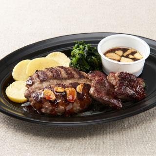 デニーズ テイクアウト Wビーフのグリル(カットステーキ&All Beef ハンバーグ)