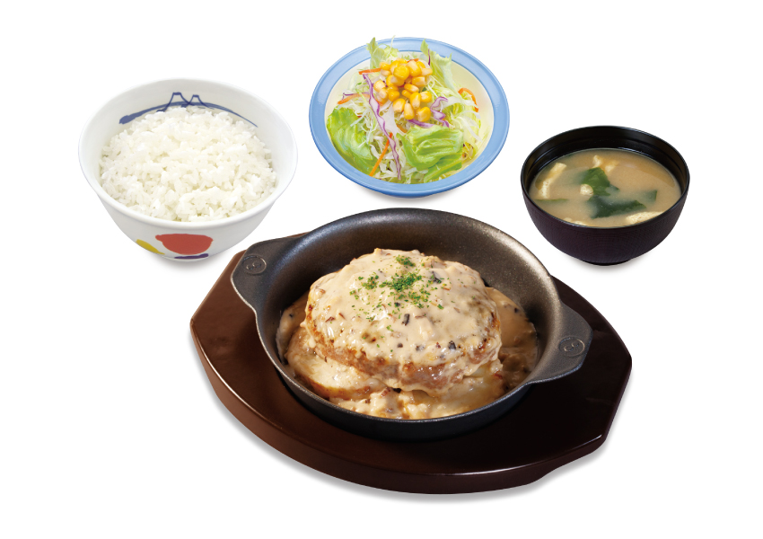 松屋 黒トリュフソースのビーフハンバーグ定食