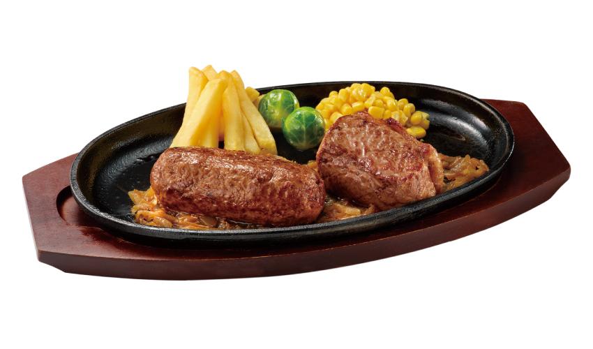ブロンコビリー 炭焼き黒毛和牛ハンバーグ & ウルグアイ産 炭焼き超厚切り熟成サーロインステーキ