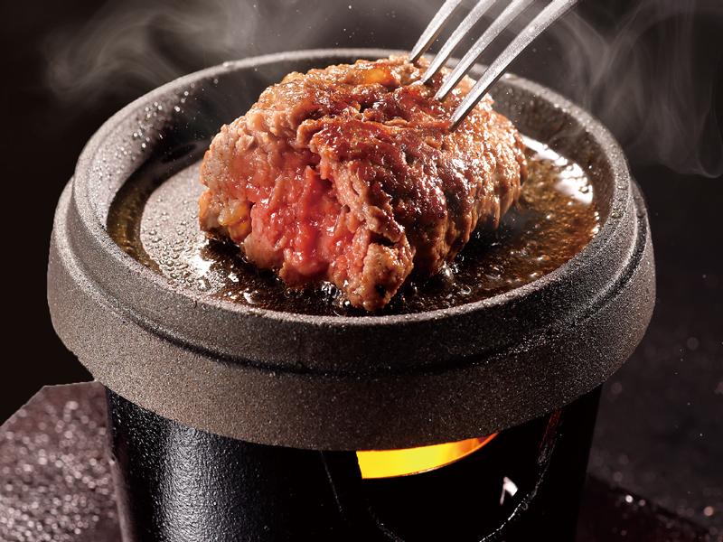 ブロンコビリー 炭焼き黒毛和牛ハンバーグ 卓上コンロ調理
