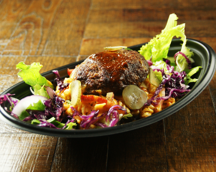世界を旅するハンバーグ丼 とろ~り濃厚マカロニチーズ・アメリカン テイクアウト 勝どきハンバーグ&ステーキR
